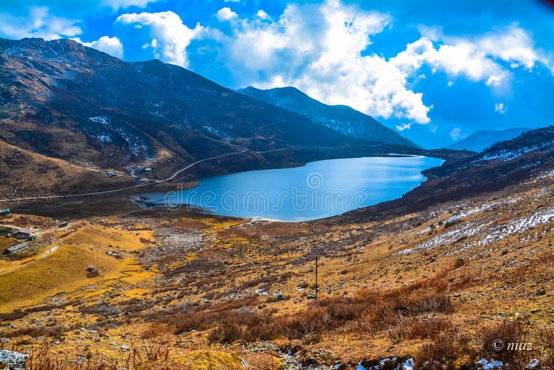 Lake in Nathang valley east sikkim northeast. Nathang valley east sikkim northeast featuring the magnificent mountains that surround it. The view is credible in stock photos