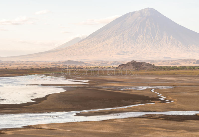 Lake Natron. Ol Doinyo Lengai (Mountain of God in the Maasai language), an active volcano in the Northern Tanzania, seen from the dried Lake Natron at sunset in stock photo
