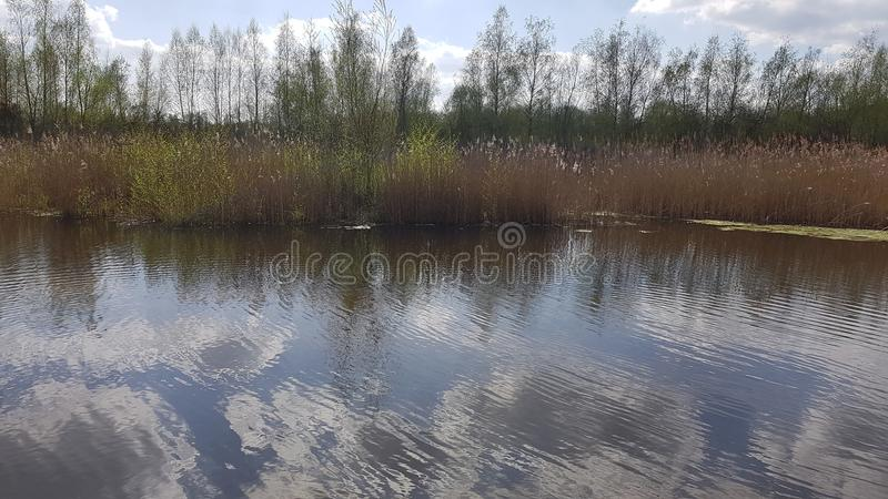 A lake near the Arkenberge hills in North of Berlin in spring. The Arkenberge in Blankenfelde in the north of Berlin was originally a natural range of hills. By stock images