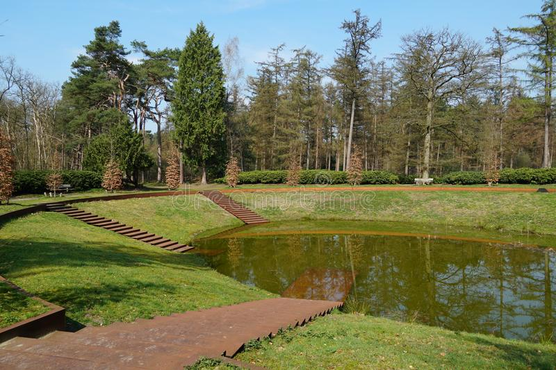 Lake near Bilthoven in the Netherlands. Small lake in a park near the villages of Bilthoven and De Bilt in the Netherlands stock photo