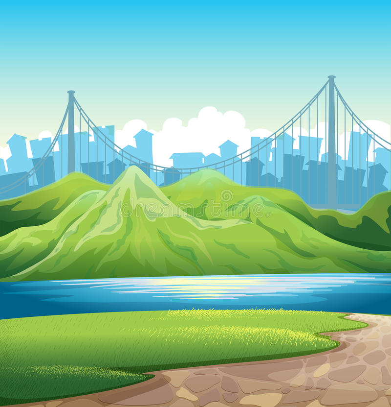 Download A lake near the mountains stock illustration. Illustration of image - 33615138