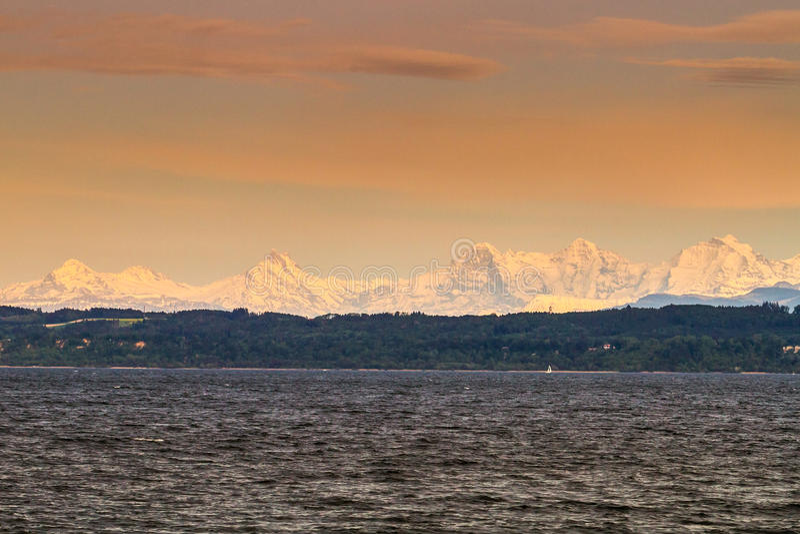 Lake Neuchatel And Alps Stock Image
