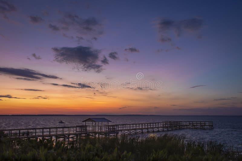 Lake Newton Park Winter Garden, FL Sunset w/Bridge royalty free stock photography