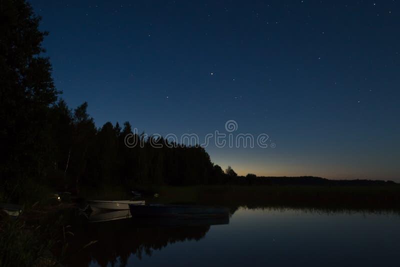 The lake at night. View of the lake at night stock photos