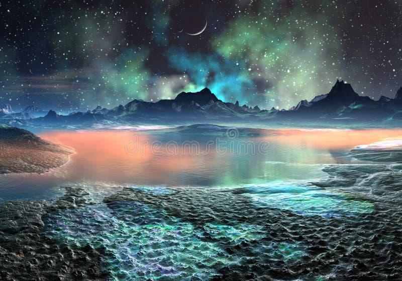 Lake och berg på den avlägsna världen royaltyfri illustrationer