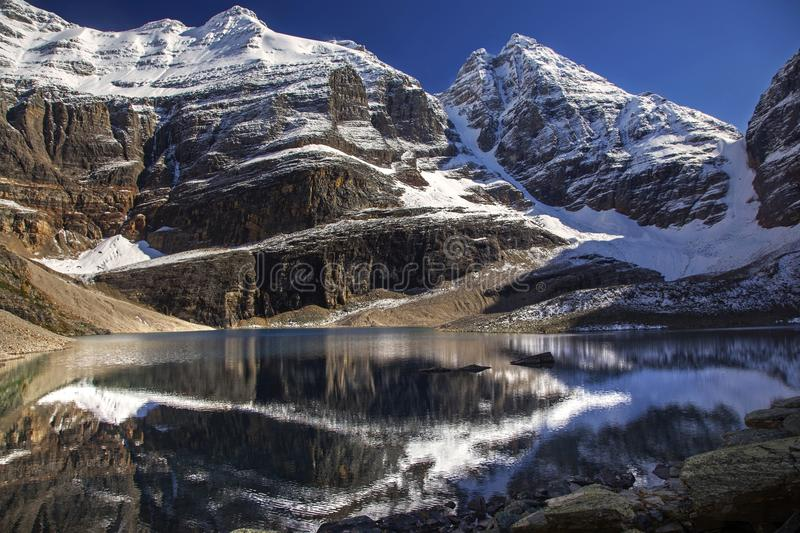 Lake Oesa and Snowy Mountain Tops in Yoho National Park royalty free stock images