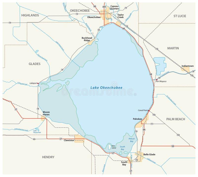 Lake Okeechobee map stock illustration Illustration of america