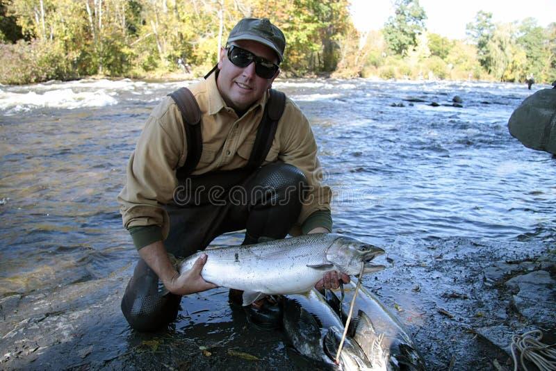Lake Ontario Steelhead Salmon Fisherman royalty free stock photos