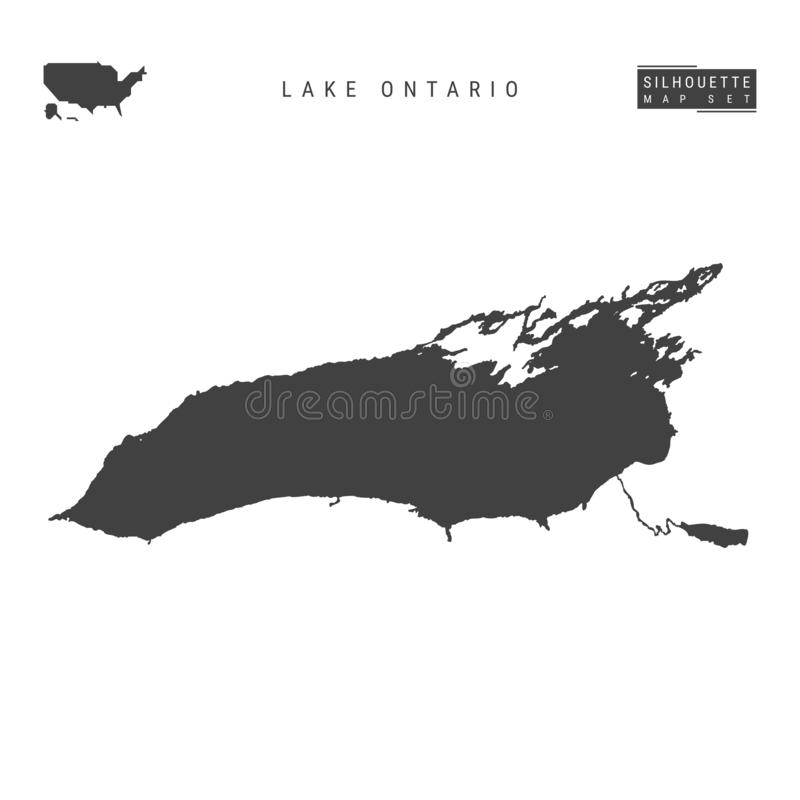 Lake Ontario Vector Map Isolated on White Background. High-Detailed Black Silhouette Map of Lake Ontario. Lake Ontario Blank Vector Map Isolated on White royalty free illustration