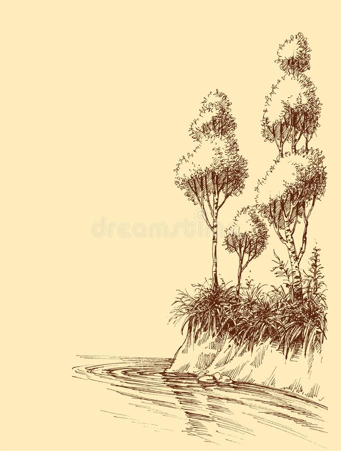 Free Lake Or River Shore Artistic Sketch Stock Photography - 162134782