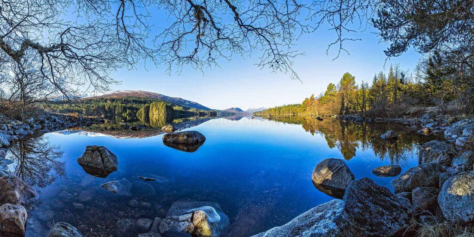 Lake Ossian in Scotland royalty free stock photography