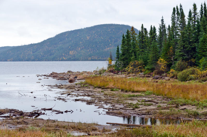 Lake in overcast day. Lake in Jacques Cartier National Park under clouds sky stock image