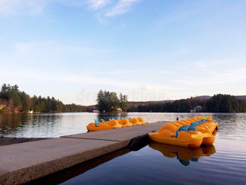 Lake with paddle boats royalty free stock photo
