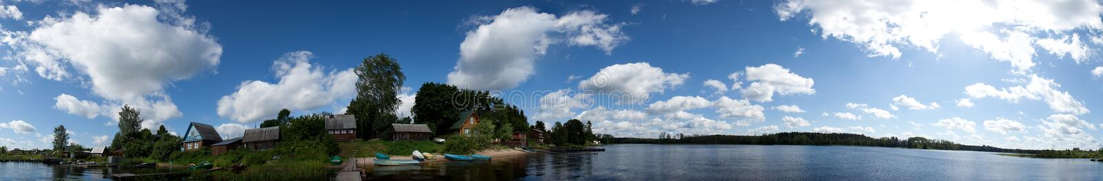 Lake panorama clouds water stock photography