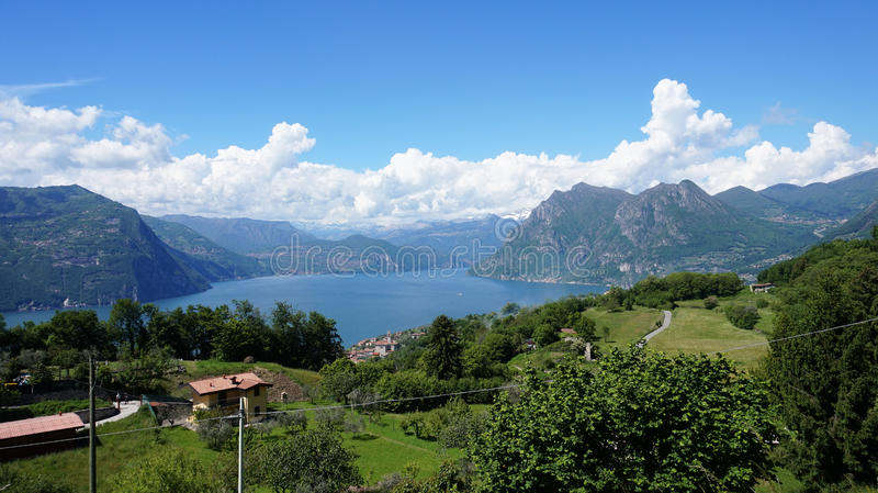 Lake panorama from `Monte Isola`. Italian landscape. Island on lake. View from the island Monte Isola on Lake Iseo, Italy.  stock images