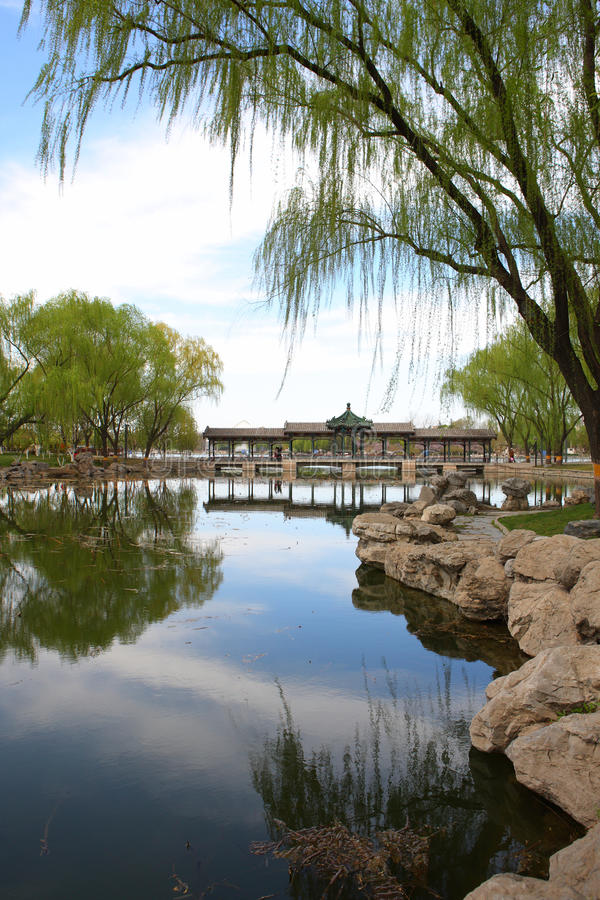 Lake in park at beijing royalty free stock photo