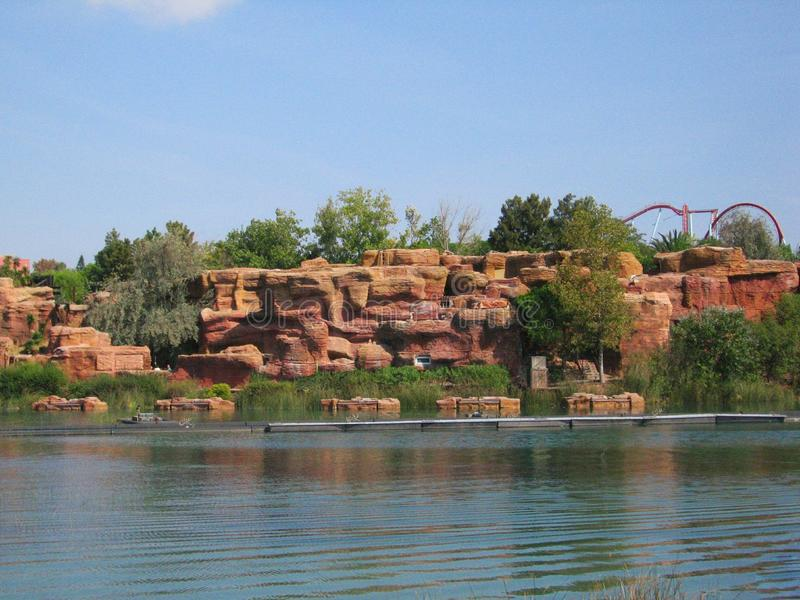 Lake in park Port Aventura Spain. The port of Aventura PortAventura — an amusement park and attractions, the European resort in Spain. It is located near stock image