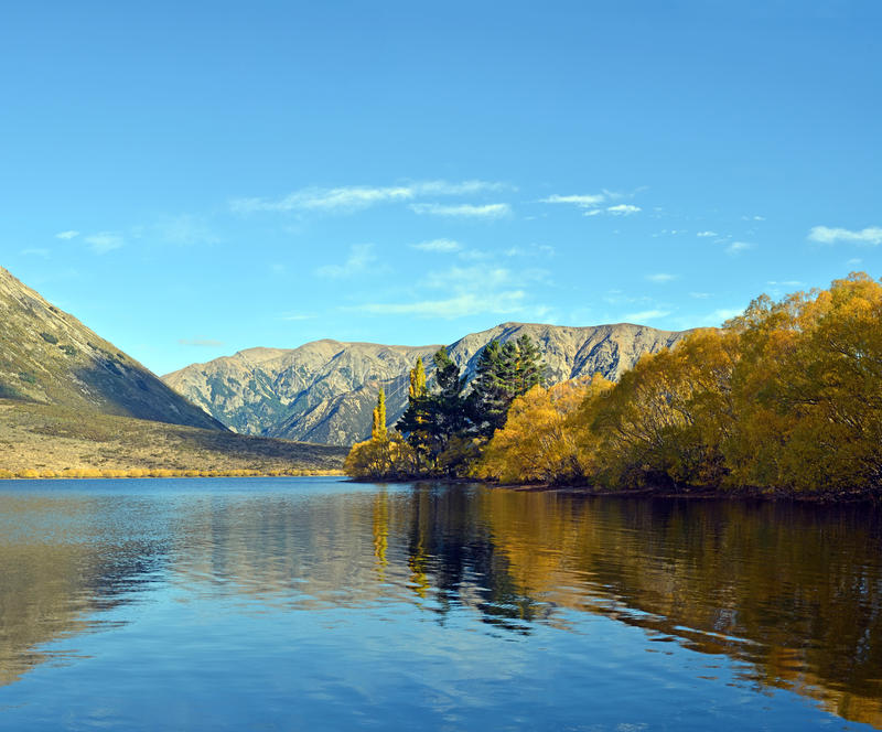 Lake Pearson - The Southern Alps of New Zealand in Autumn stock images