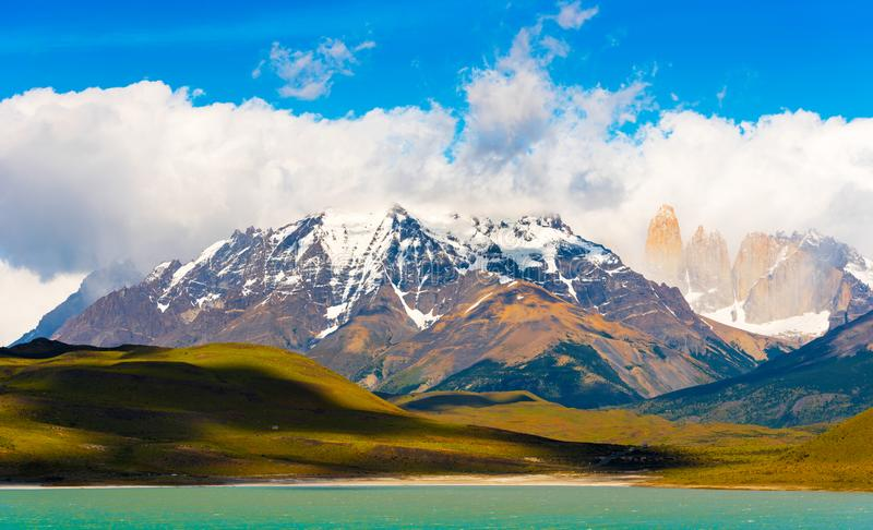 Lake Pehoe, Torres del Paine National Park, Patagonia, Chile, South America. Copy space for text stock photos
