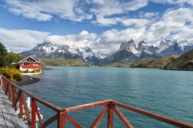 Lake Pehoe, Torres Del Paine National Park, Patagonia, Chile royalty free stock photo