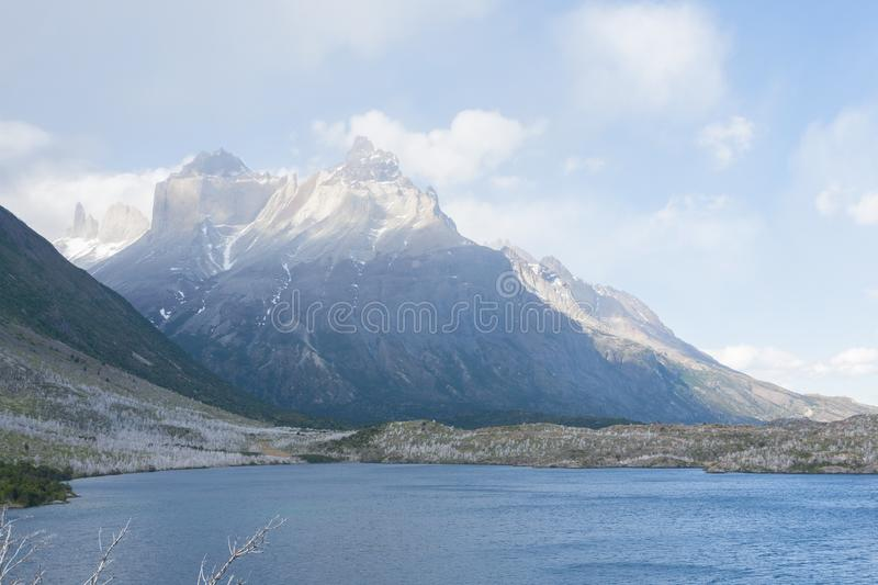 Lake Pehoe view, Torres del Paine, Chile stock photo