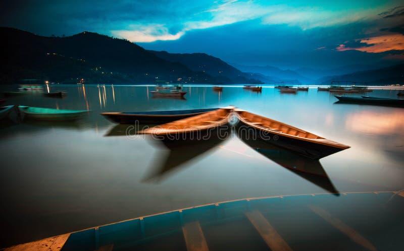 Lake Phewa, Pokhara, Nepal. Colorful boats on Lake Phewa, Pokhara, Nepal stock photos