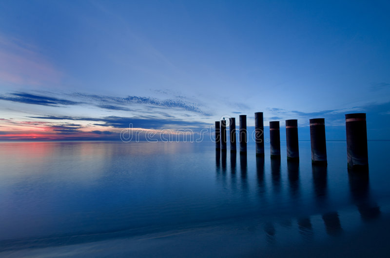 Lake Piers. On Lake Michigan after sunset royalty free stock images