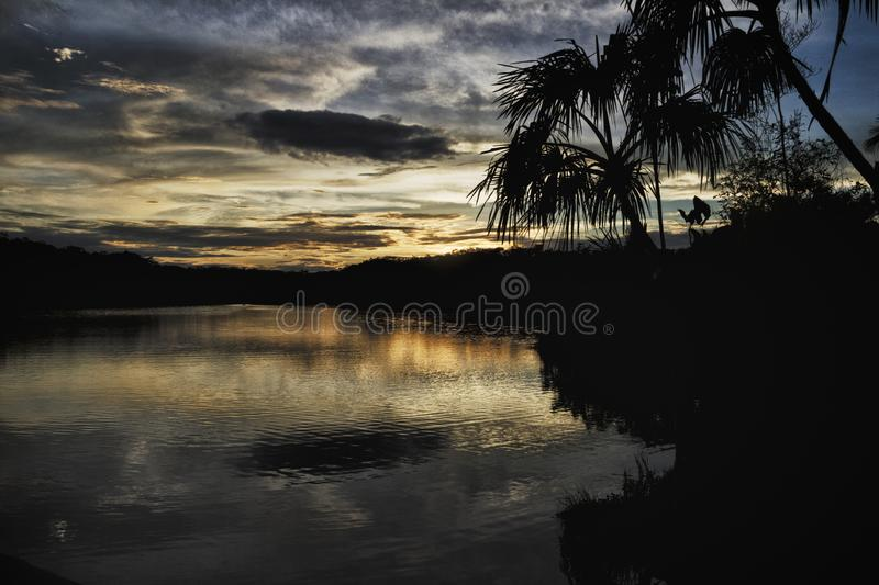 Lake Pilchicocha, Amazon Basin, Ecuador. Lake Pilchicocha is a blackwater lake, in the Province of Sucumbíos of Ecuador. It is located in the eastern stock images