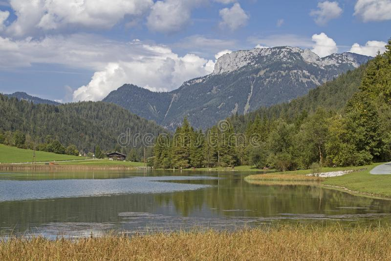 Lake Pillersee in Tyirol. Created by a landslide Pillersee north of Hochfilzen in Tyrol is a popular destination for many tourists and weekend tourists stock photos