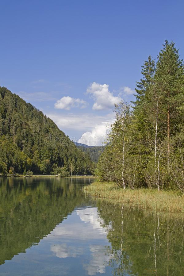 Lake Pillersee in Tyirol. Created by a landslide Pillersee north of Hochfilzen in Tyrol is a popular destination for many tourists and weekend tourists royalty free stock images