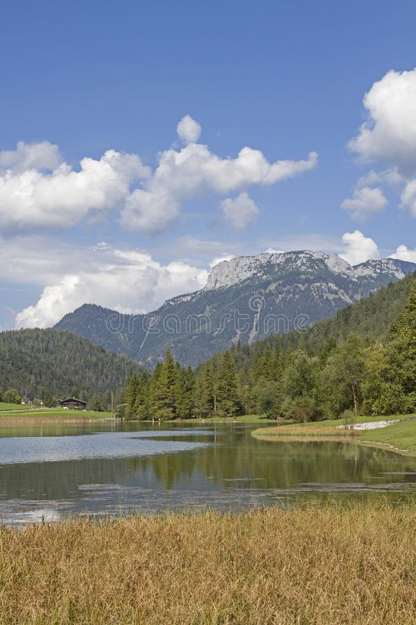 Lake Pillersee in Tyirol. Created by a landslide Pillersee north of Hochfilzen in Tyrol is a popular destination for many tourists and weekend tourists stock image