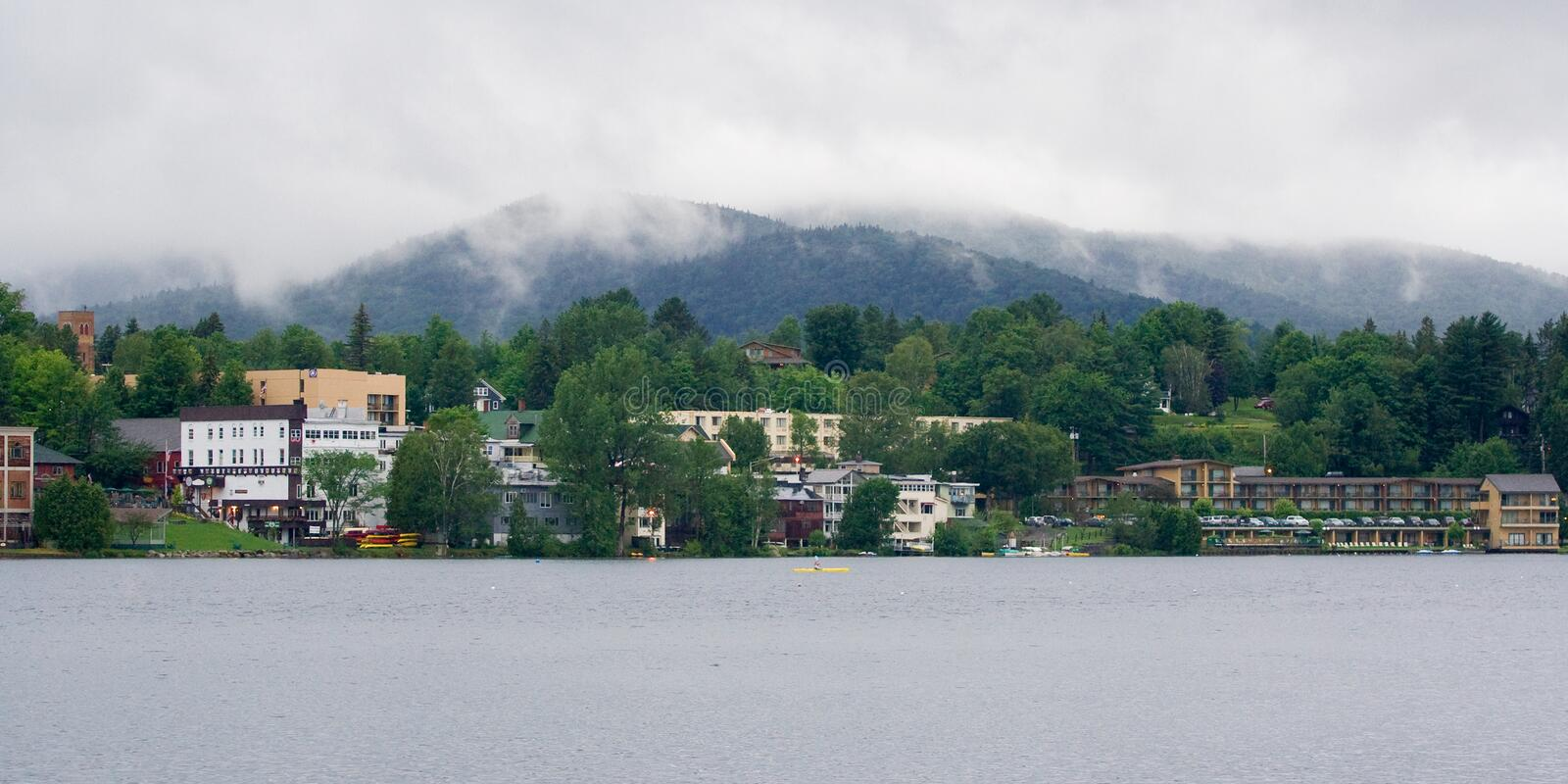 Lake Placid. Panoramic landscape of Lake Placid, NY on a cloudy overcast day royalty free stock image