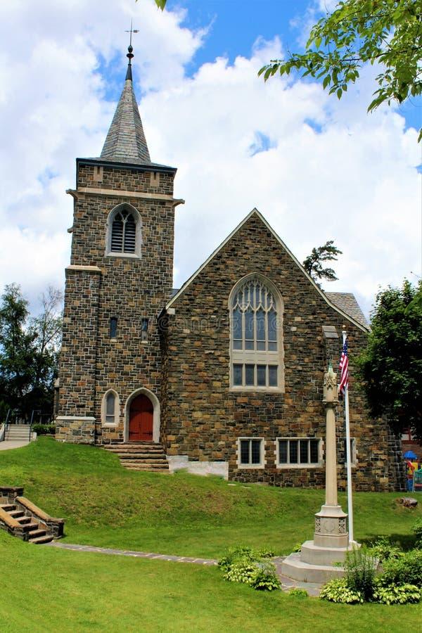 Lake Placid. Church at Lake Placid, New York village stock photo