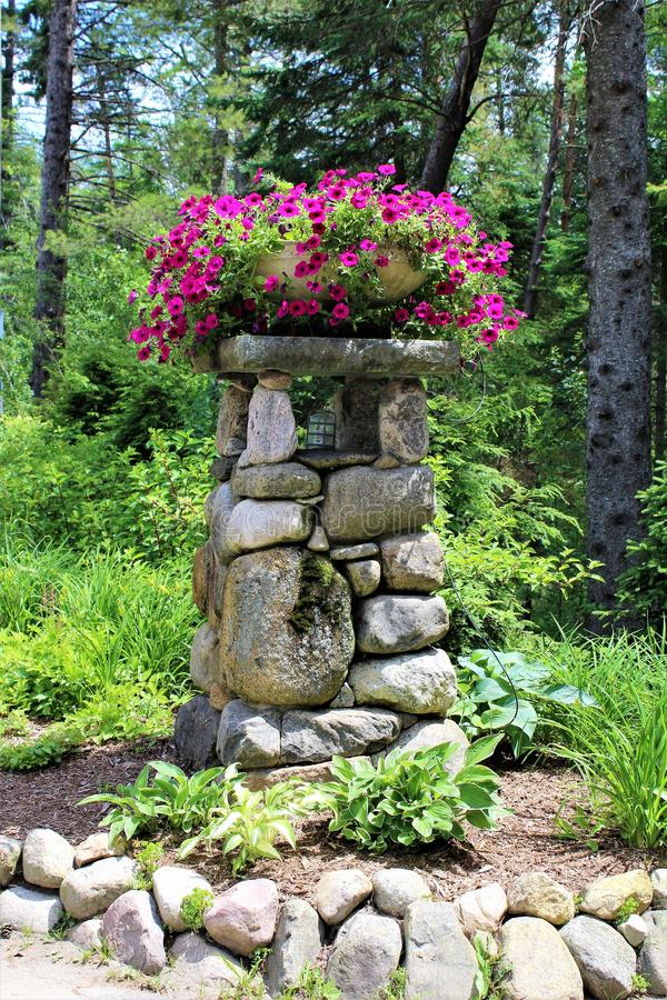 Lake Placid. Landscape view of residential entrance post at Lake Placid, New York village stock images