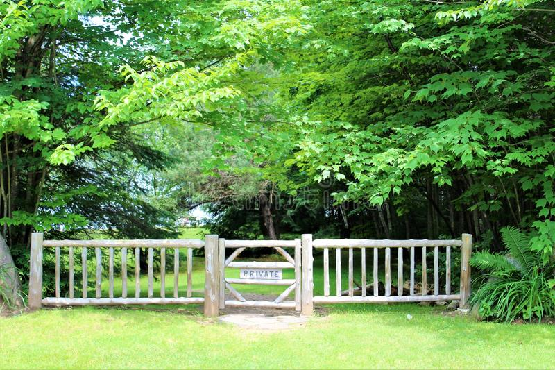 Lake Placid. Landscape view of residential private entrance gate at Lake Placid, New York village royalty free stock photos