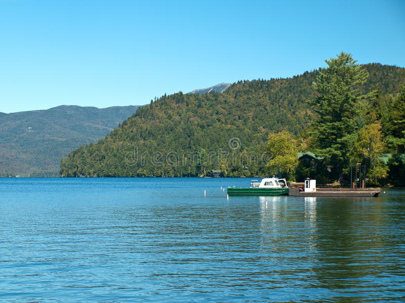 Lake placid, new york. View of lake placid, new york on beautiful early autumn day royalty free stock images
