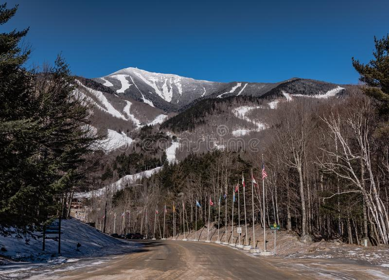 Whiteface Ski Resort - Lake Placid, NY. Lake Placid, New York / USA/ March 2, 2016: Entrance to Whiteface Mountain on bright blue sky day, with international stock image
