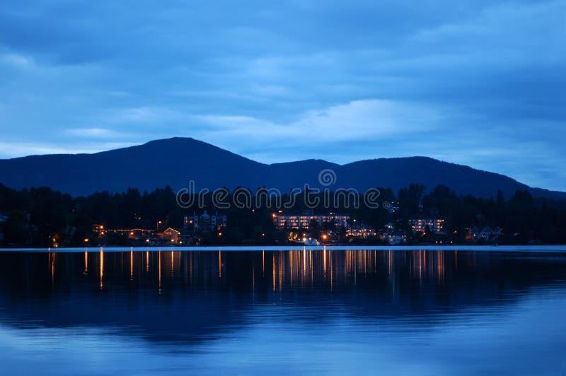 Lake Placid at night. Panoramic view of Lake Placid at night. NY, USA stock photography