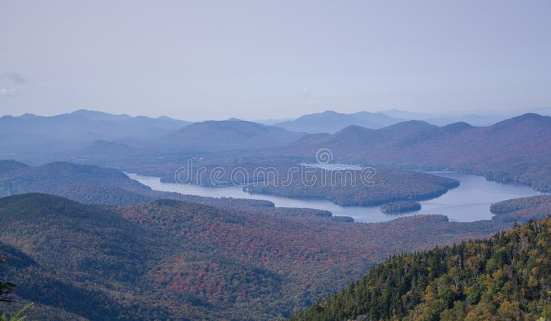 Lake Placid from the summit on Little Whiteface. View of Lake Placid from the summit on Little Whiteface in Wilmington NY royalty free stock images
