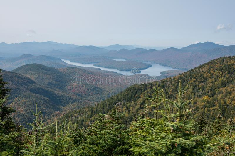 Lake Placid from the summit on Little Whiteface in Wilmington NY. View of Lake Placid from the summit on Little Whiteface in Wilmington NY stock image