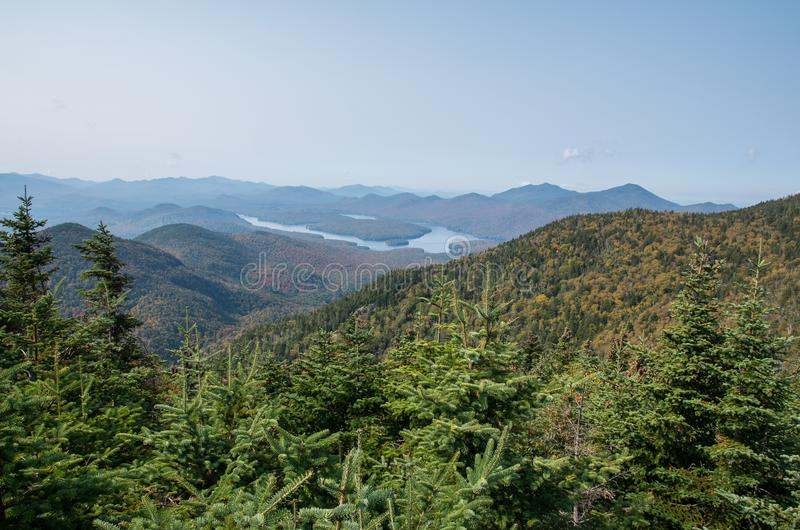 Lake Placid from the summit on Little Whiteface in Wilmington NY. View of Lake Placid from the summit on Little Whiteface in Wilmington NY royalty free stock photography