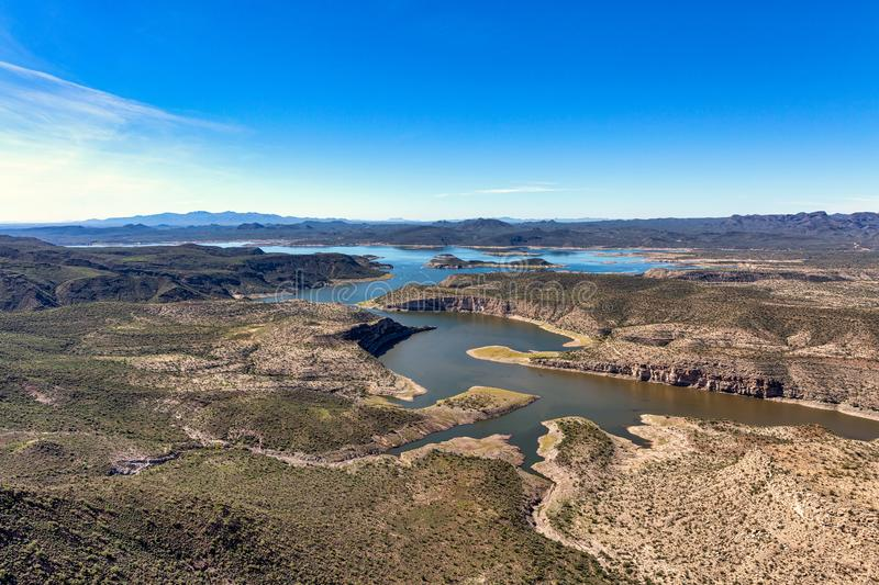 Lake Pleasant, Arizona a popular recreation area northwest of Phoenix. Aerial view of Lake Pleasant, a recreation hub located northwest of Phoenix, Arizona stock photography