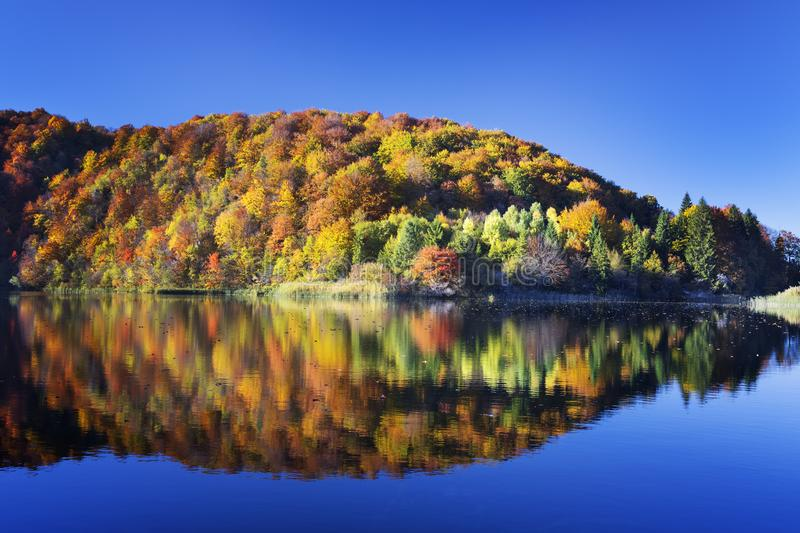 Lake in Plitvice National Park stock images