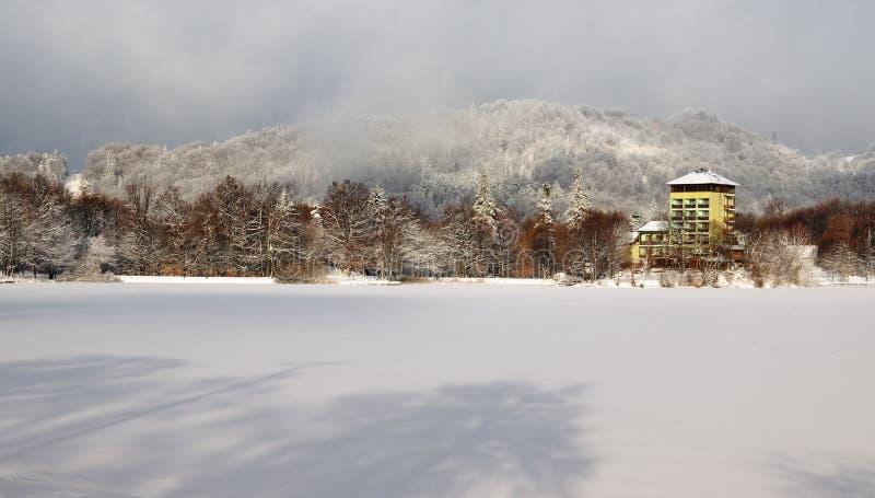 Lake Pocuvadlo in winter stock photography