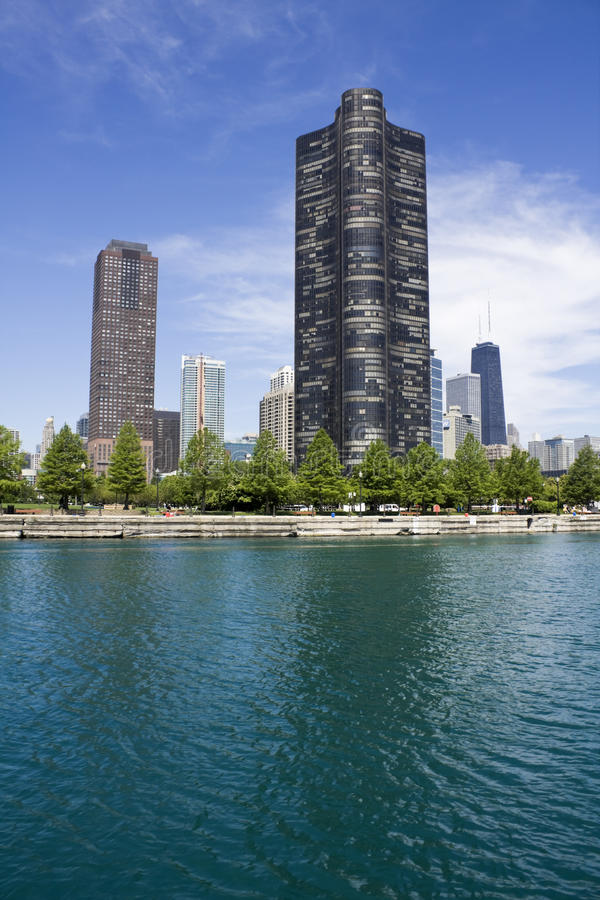 Lake Point Tower. Seen from the lake stock photos