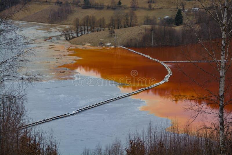 Lake pollution by mining residuals,Geamana ,Romania royalty free stock photos