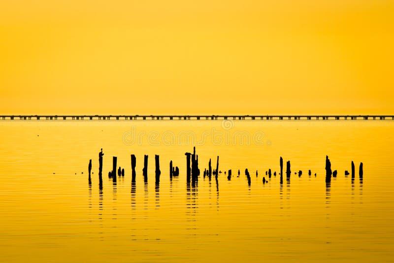 Lake Pontchartrain Causeway. Sunset at Lake Pontchartrain Causeway royalty free stock photos