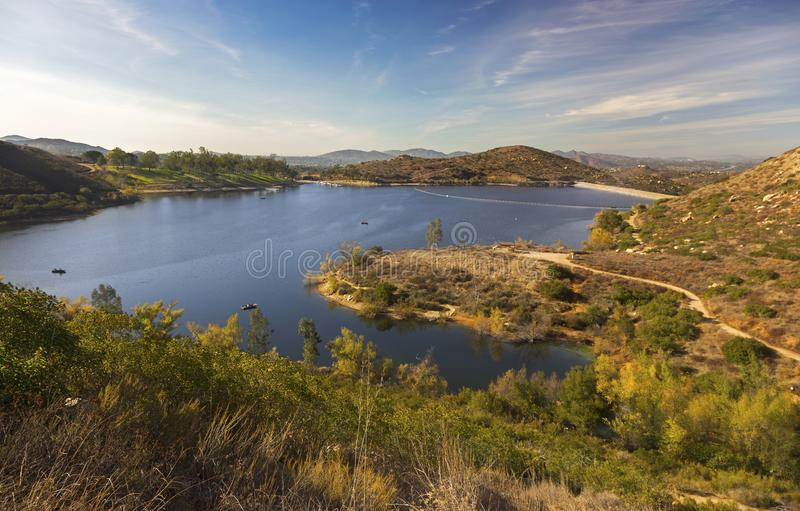 Lake Poway Scenic Landscape San Diego County North. Panoramic Landscape Scenic View of Lake Poway fishing and recreation area in San Diego North County Inland stock image