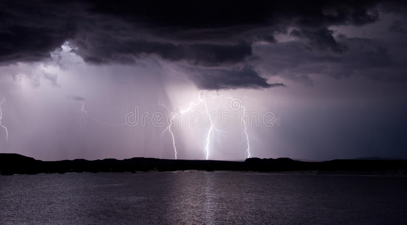 Lake Powell Lightning Storm. Lightning storm at Bullfrog Marina lake Powell royalty free stock photo