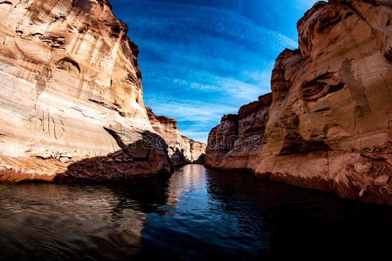 How deep is the canyon? stock photo